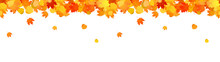 Horizontal Decorative Seamless Header With Falling Leaves For Sites.