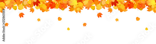 Obraz Horizontal decorative seamless header with falling leaves for sites. - fototapety do salonu