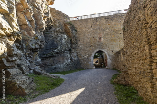 Staande foto Oude gebouw View of historic Aggstein castle ruin on the Danube river. Lower Austria.
