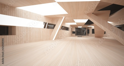 Abstract concrete and wood parametric interior with neon lighting