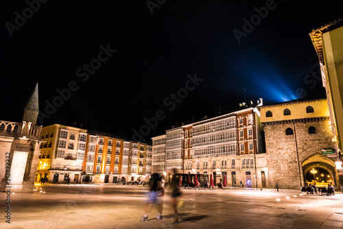 Night view of the Plaza Rey San Fernando in front of the Burgos Cathedral, Spain.