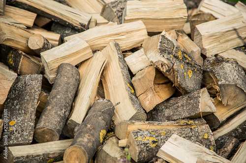 Poster Brandhout textuur firewood chopped background texture