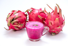Fresh Red Dragon (pitaya) Fruit Juice In Glass Mug. Close Up On White Background With Clipping Path