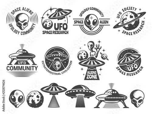 Photo  Badges set with ufo and aliens