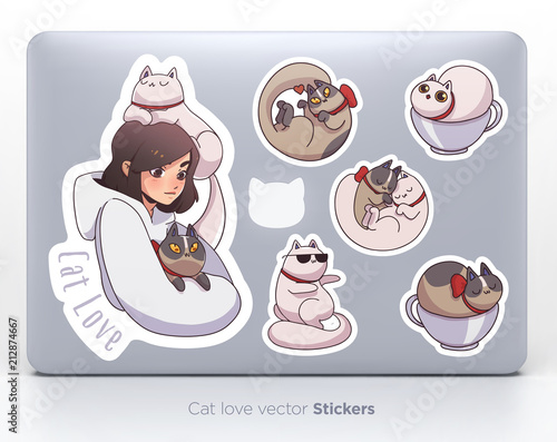 Sticker set with cute girl and cats. Vector illustration