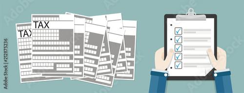 Fototapeta Hand Clipboard Checklist Tax Header