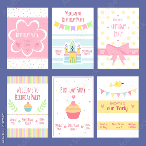 Fototapeta Birthday Invitation Cards Vector Template With Place For Your Text