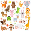 set of colorful animals vector
