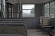 Old rustic benches in a tram. Komsomolsk-on-Amur, Russia