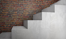 Concrete Stairs On Brick Wall....