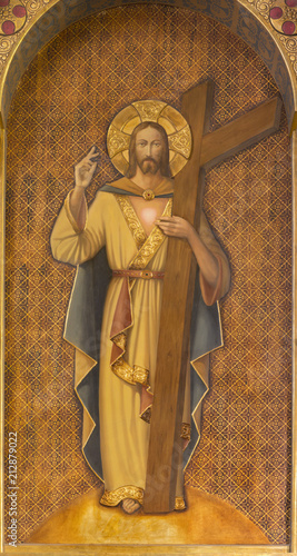 Canvas Print ZARAGOZA, SPAIN - MARCH 1, 2018:  The painting of Resurrected Jesus Christ with the cross in church Iglesia del Perpetuo Socorro by pater Jesus Faus (1953 - 1959)