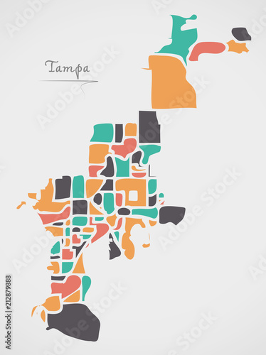 Map Of Tampa Florida.Tampa Florida Map With Neighborhoods And Modern Round Shapes Buy