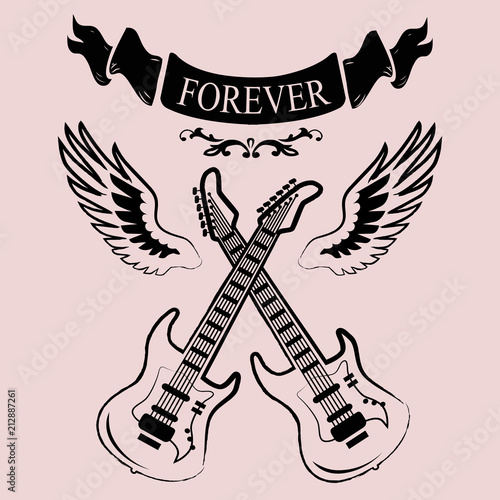 Two Crossed Guitars Icon Vector Illustration фототапет