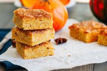 Pumpkin Cornmeal Bars With Spi...
