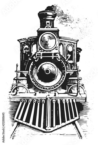 Cuadros en Lienzo steam locomotive railway #vector #isolated - Lokomotive Lok