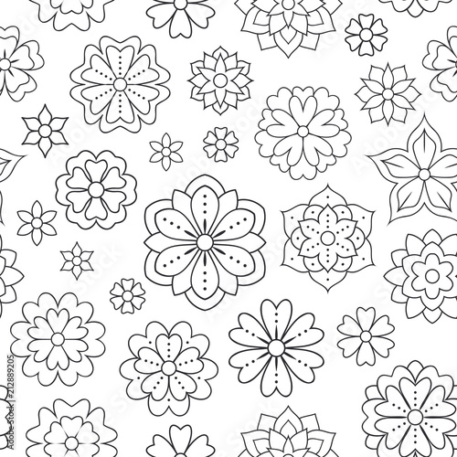 Seamless pattern with outline flowers for coloring book ...