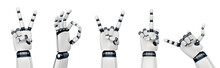 Isolated Robot Hand Gestures On White