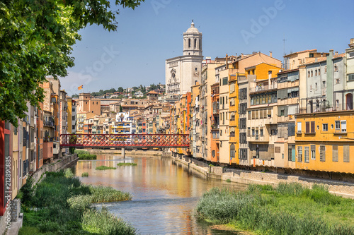Looking down the River Onyar in Girona Catalonia Spain