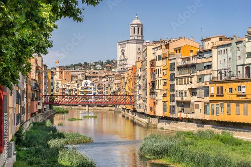 Looking down the Onyar River to the Eiffel bridge in Girona
