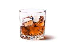 Cold Whiskey Into The Glass Isolated On White Background
