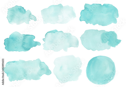 Watercolor abstract shapes isolated on white background Canvas-taulu