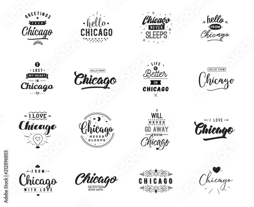 Greeting cards, vector design. Isolated logos. Typography set. Fototapet