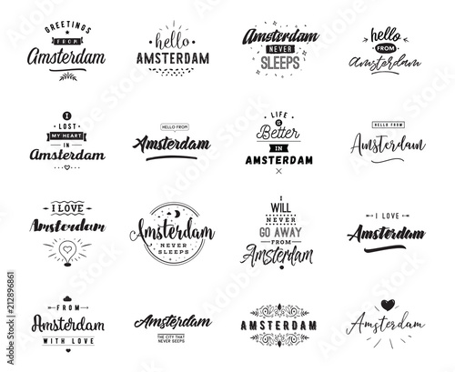 Greeting cards, vector design. Isolated logos. Typography set. Tablou Canvas