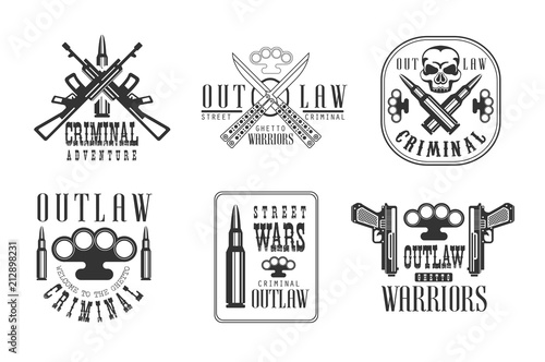 Vector set of black and white emblems related to ghetto theme Canvas-taulu