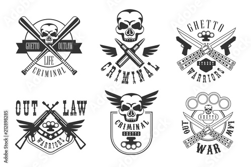 Valokuva Vector set of emblems related to criminal theme