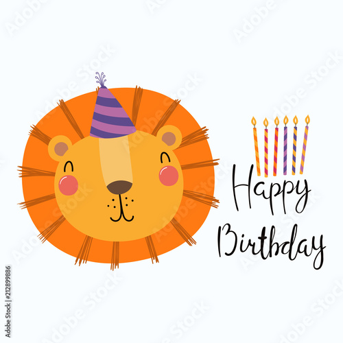 Photo Stands Illustrations Hand drawn birthday card with cute funny lion in a party hat, candles, quote Happy birthday. Isolated objects. Scandinavian style flat design. Vector illustration. Concept for kids print.