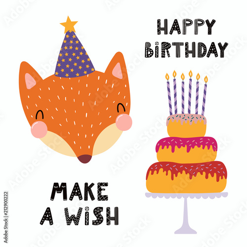Hand Drawn Birthday Card With Cute Funny Fox In A Party Hat Cake Candles Quote Make Wish Isolated Objects Scandinavian Style Flat Design