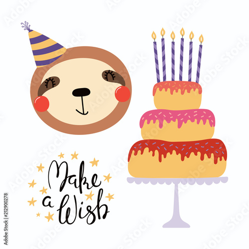 Recess Fitting Illustrations Hand drawn birthday card with cute funny sloth in a party hat, cake with candles, quote Make a wish. Isolated objects. Scandinavian style flat design. Vector illustration. Concept for kids print.