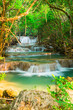 canvas print picture Huay Mae Kamin waterfall at National Park in Thailand
