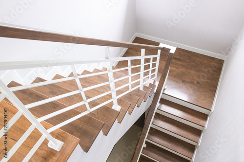 Foto op Plexiglas Trappen Wooden stairs and wooden handles