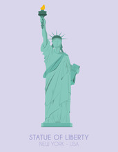 Modern Design Poster With Colorful Background Of Statue Of Liberty (New York, USA). Vector Illustration