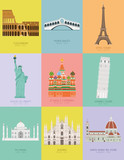 Fototapeta Fototapety Paryż - Modern design poster with colorful background of nine important monuments of the world Vector illustration