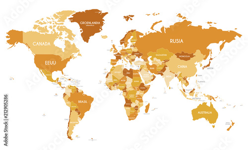 Fotobehang Wereldkaart Political World Map vector illustration with different tones of orange for each country and country names in spanish. Editable and clearly labeled layers.