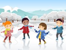 Stickman Kids Ice Skate Illust...