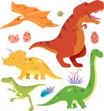 Fototapeta Dinusie - Prehistoric Dinosaur Elements Illustration