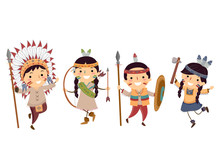 Stickman Kids Native American Indian Outfits