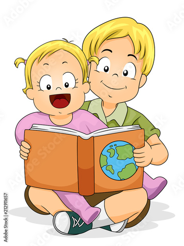 Baby Girl Read Brother Geography Book Illustration Canvas Print