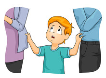 Kid Boy Parents Neglect Illust...