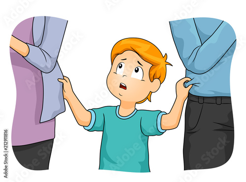 Fotografia Kid Boy Parents Neglect Illustration