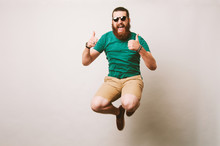 Cheerful Bearded Hipster Man W...