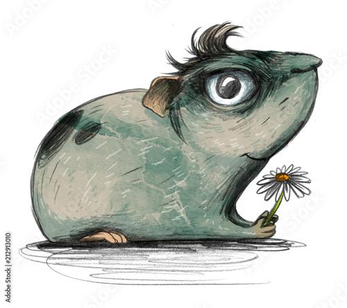 sliczny-krolik-doswiadczalny-z-kwiatem-w-profilu