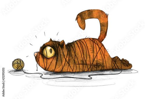 ladny-kotek-z-klebkiem-welny-ilustracja