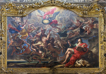 PARMA, ITALY - APRIL 15, 2018: The Painting Of The Battle Of The Angels After Apocalypse Of St. John In Church Chiesa Di San Giovanni Evangelista By Unknown Artist.