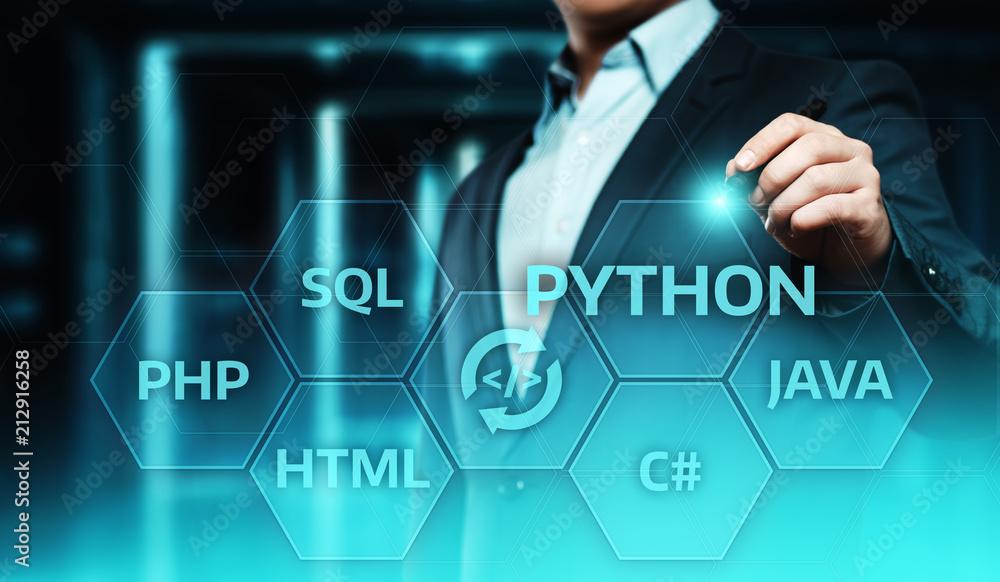 Fototapeta Python Programming Language Web Development Coding Concept