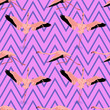 canvas print picture - flying flamingo pattern seamless with shadow