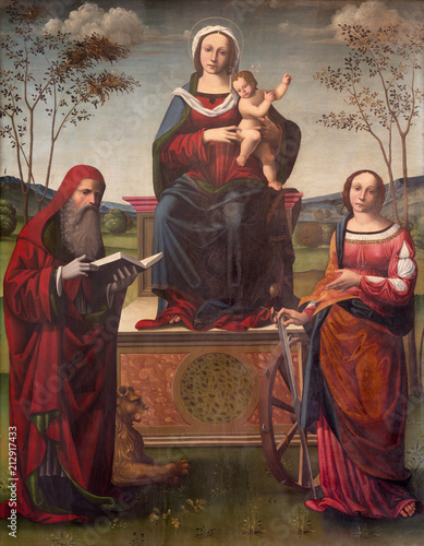 REGGIO EMILIA, ITALY - APRIL 12, 2018: The painting of Madonna on the trone with the Child and st Tableau sur Toile